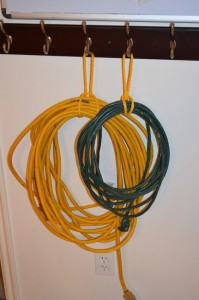 Hang cords from hooks