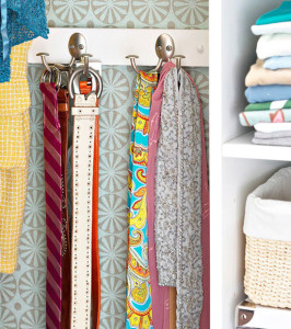 belts and scarves on hooks